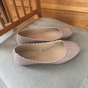 Olivia Miller Nude Scalloped Flats